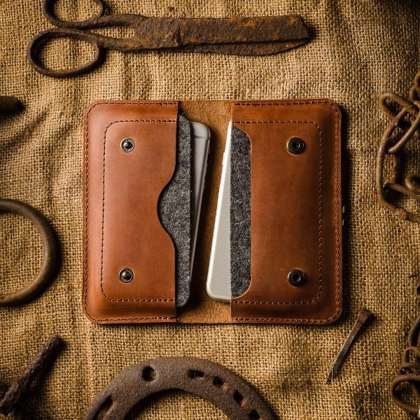 Kožená double iphone peněženka