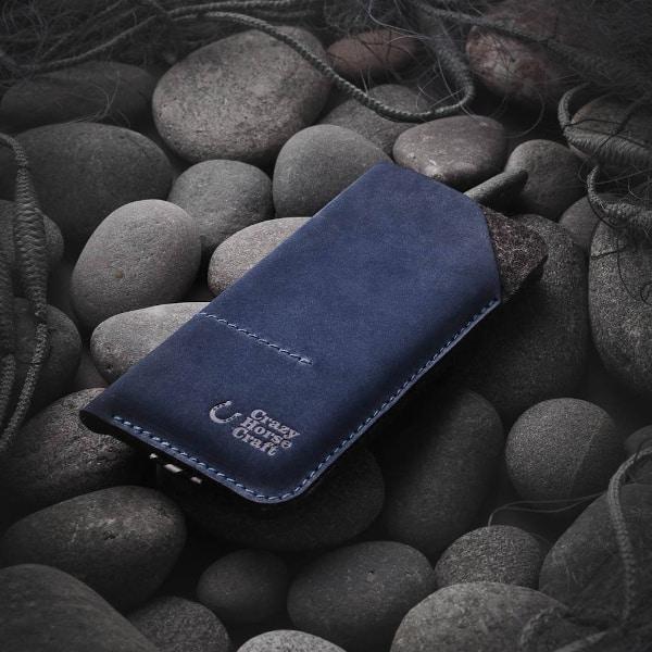 Kožené pouzdro / peněženka na iPhone modrá přední strana