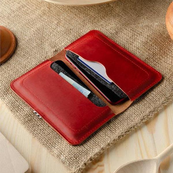 červená Kožená double iphone peněženka