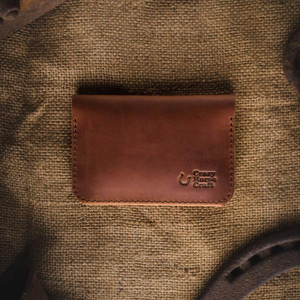 Kožená peněženka na karty světle hnědá ruční zpracování