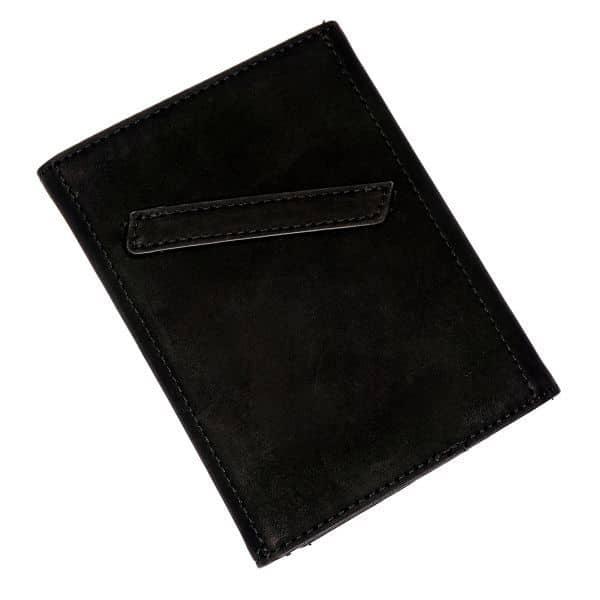 Zadní strana černé cestovní peněženky