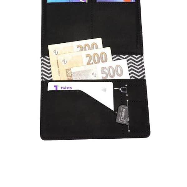 černá cestovní peněženka malé kapsy