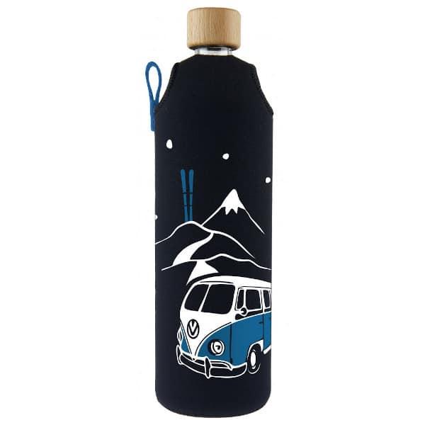 Skleněná láhev na pití v neoprenovém obalu Drinkit modrá hory autobus 700 ml