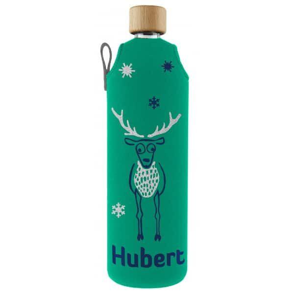 Skleněná láhev na pití v neoprenovém obalu Drinkit zeleno modrá jelen 700 ml