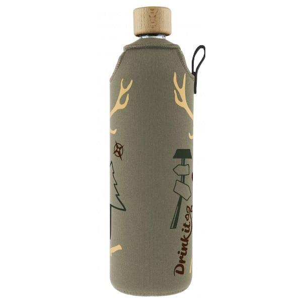 Skleněná láhev na pití v neoprenovém obalu Drinkit hnědá jelen myslivec 700 ml