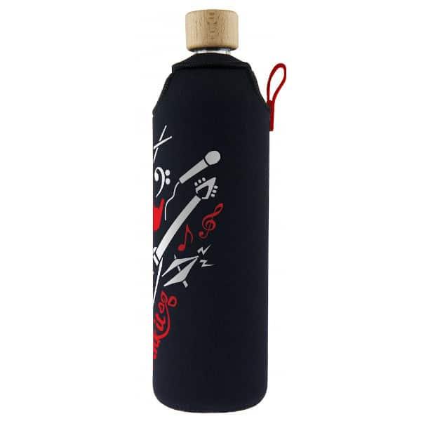 Skleněná láhev na pití v neoprenovém obalu Drinkit černo bílo červená kytara 700 ml