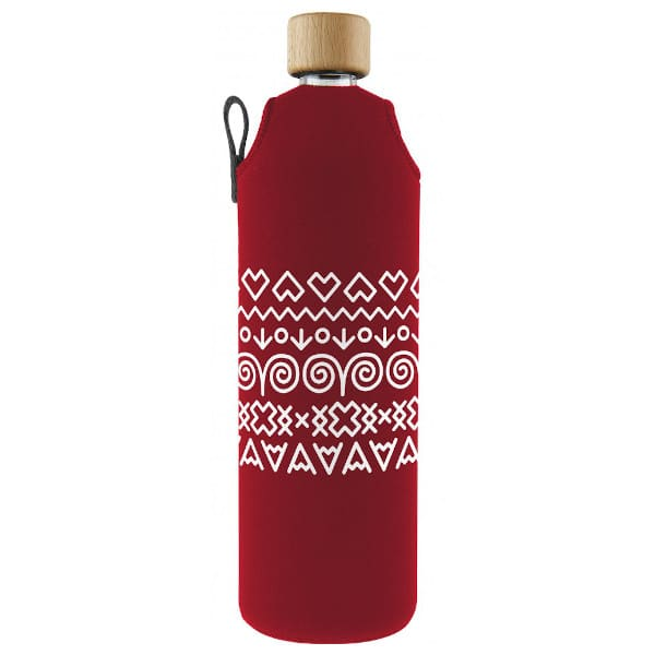 Skleněná láhev na pití v neoprenovém obalu Drinkit červená s bílými motivy 700 ml