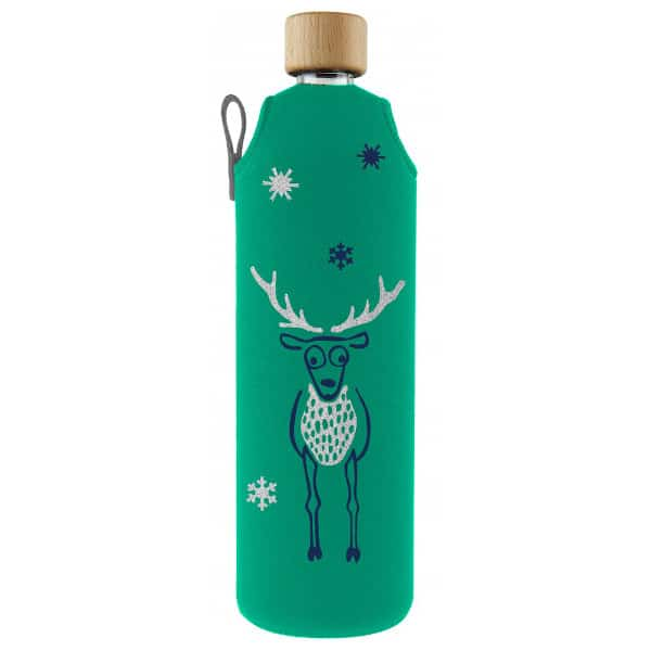 Skleněná láhev na pití v neoprenovém obalu Drinkit zelená motiv Jelen 700 ml