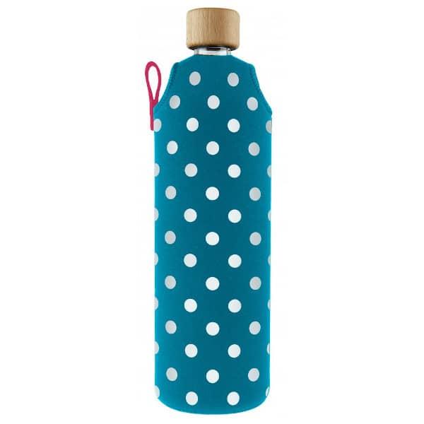 Skleněná láhev na pití v neoprenovém obalu Drinkit modrá s bílým puntíkem 700 ml
