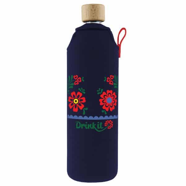 Skleněná láhev na pití v neoprenovém obalu Drinkit tmavě modrá lidový motiv 700 ml