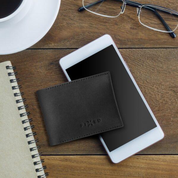 chytrá kožená peněženka černá