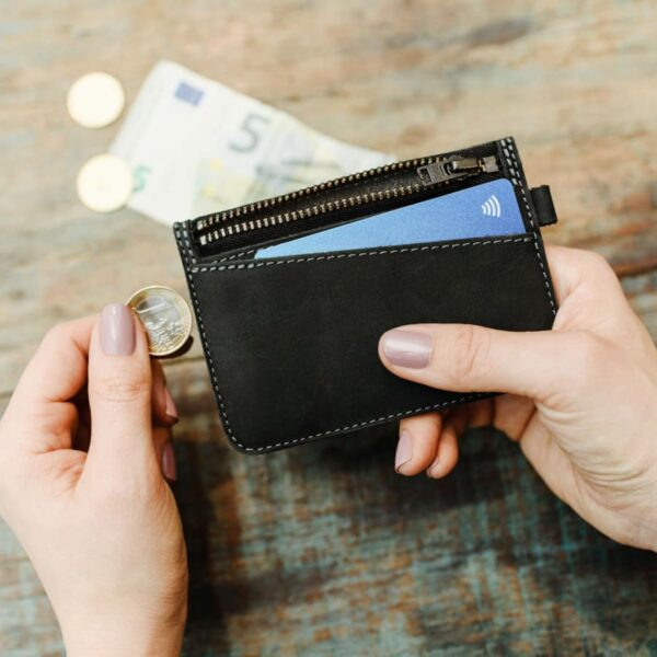 Chytrá kožená peněženka Fixed Smile Coins na mince