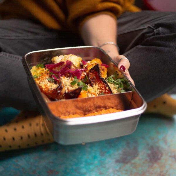 Těsnící nerezový lunchbox 1,9 litrů na cestování
