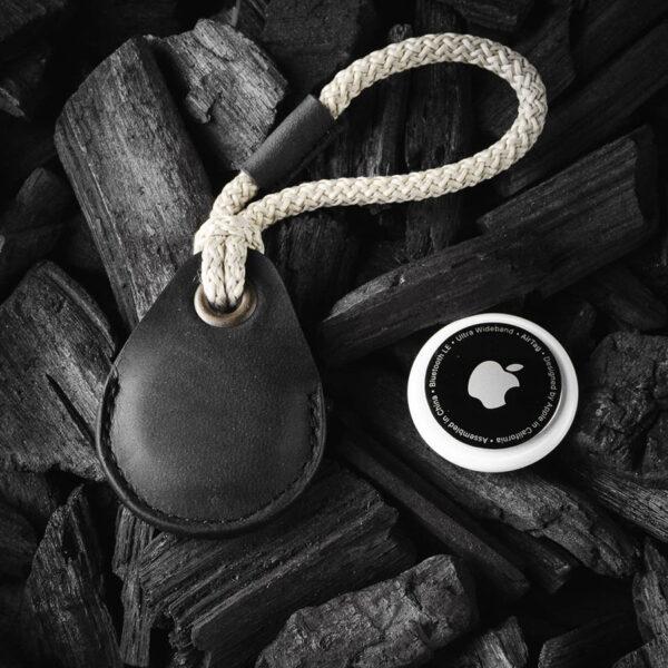 Kožená klíčenka na Apple Airtag černá